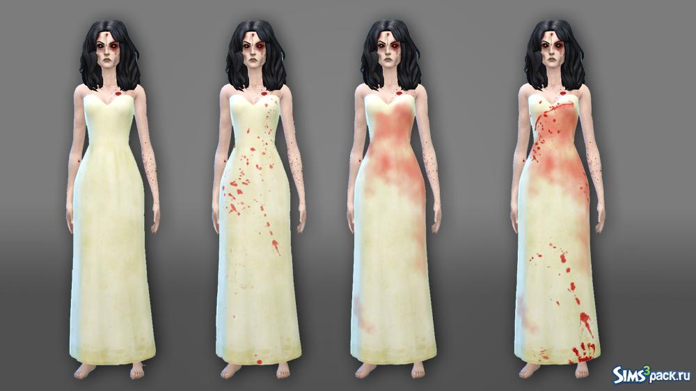 На свадебном платье кровь