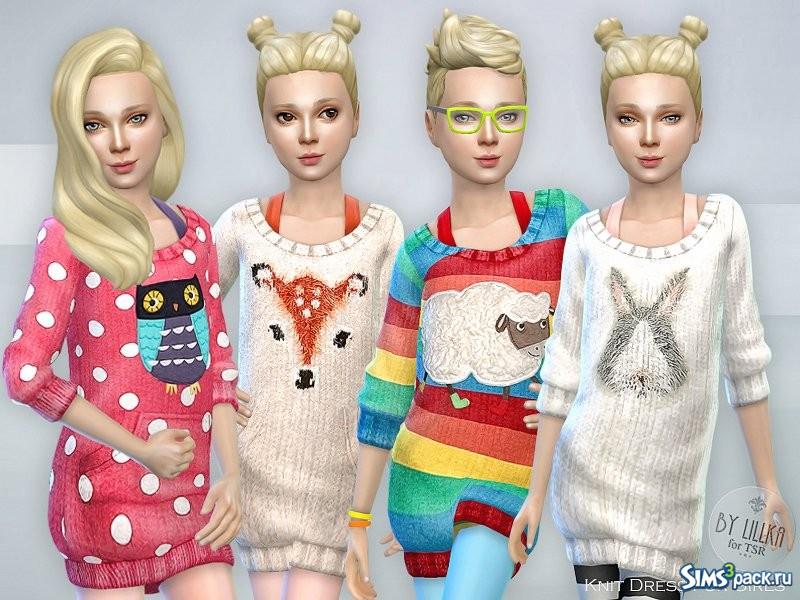 Скачать вязаные платья для девочек от lillka для Симс 4