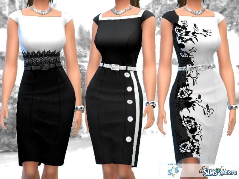 Черно-белое платье карандашом