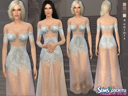 Платье 40 - Nude illusion tulle prom gown от sims2fanbg