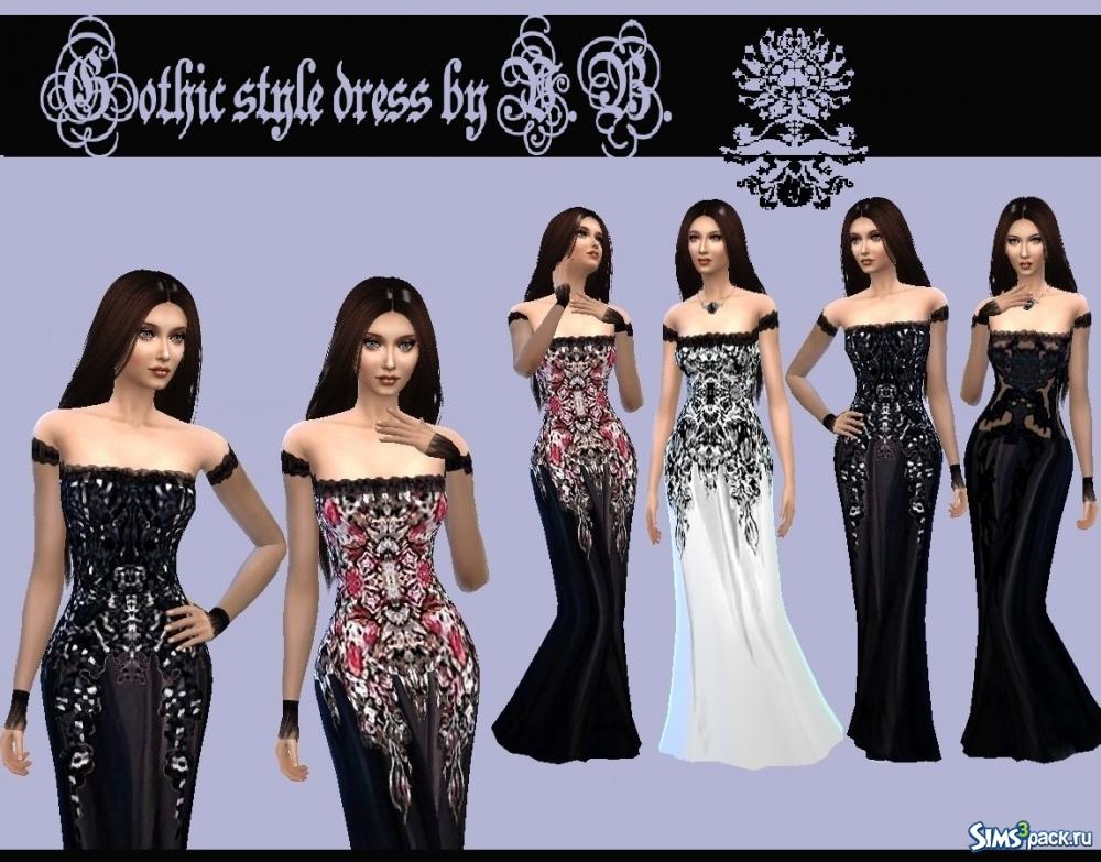 6a6b289c75c Скачать платье в готическом стиле от LeonaLure для Симс 4