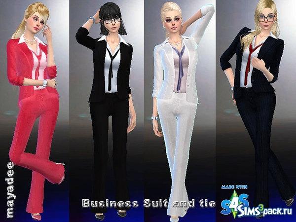 Скачать деловой костюм и галстук от mayadee для Симс 4 50228579605