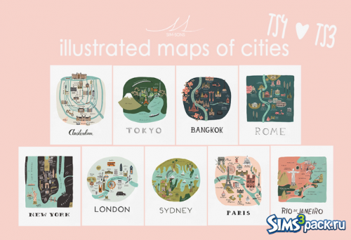 Картины Illustrated maps of cities paintings for ts3 & ts4