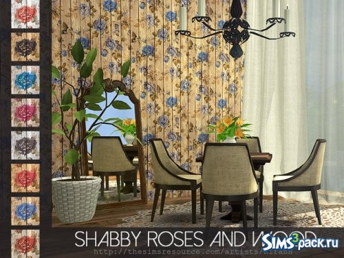 Панели Shabby Roses And Wood